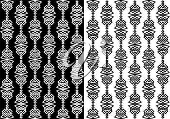 Abstract celtic seamless background with decorative elements in two variations