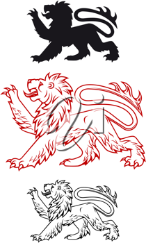 Medieval heraldic lion in color and silhouette variations