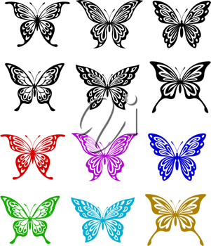 Butterfly set in colorful and monochrome style for tattoo or embellishment
