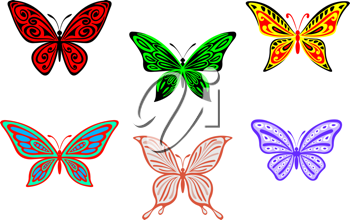 Set of colorful butterflies isolated on white background for design and embellish