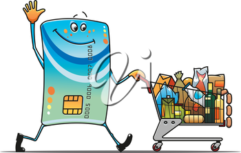 Credit card with shopping cart and food in cartoon style