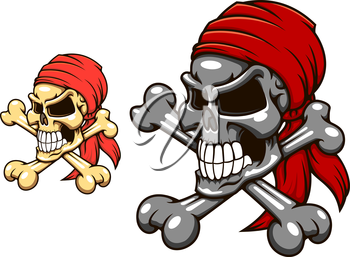 Pirate skull with crossbones in cartoon style for tattoo or mascot design