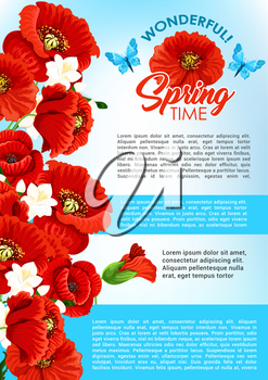 Happy Spring Time vector poster template with poppy and orchid flowers blooming bouquets for springtime holiday greetings. Spring flourish nature design with cherry blossom and lovely butterflies