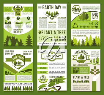 Earth Day and ecology conservation poster set. Eco green nature protection, tree planting, recycling principles of eco friendly lifestyle and sustainable industry banner for Earth Day holiday design