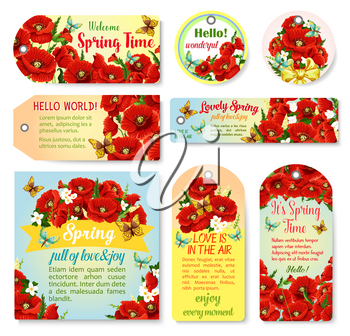 Welcome Spring greeting quotes on banners, posters and cards set with blooming flowers bouquets, spring poppy blossoms and floral bunches with butterflies for springtime holiday design