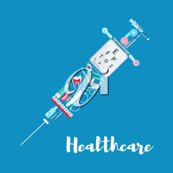Healthcare vector poster of syringe symbol and medicines. Medical items of dentistry dentist chair, dental tooth braces and surgical scalpel, ophthalmology vision glasses and eye lenses or drops
