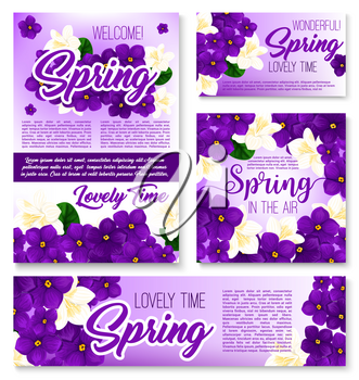 Spring season purple flower banner template set. Floral frame border and bunch of blooming crocus, violet and jasmine flowers, green branch and leaf for springtime greeting card, poster design