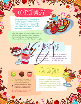Bakery desserts and confectionery sweets vector poster with pastry cakes, milkshake drink and chocolate tiramisu pie or brownie, charlotte pudding torte and gingerbread cookies or wafer biscuits for p