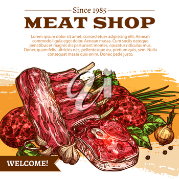 Meat shop poster of butchery products. Vector design of fresh raw mutton or pork ribs, beef tenderloin or sirloin steak and meaty cutlet or fowl mincemeat for gourmet cuisine