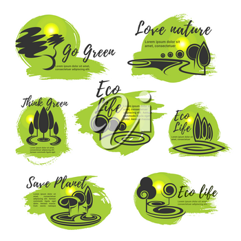 Eco life, go green, save nature and ecology protection symbol set. Green tree nature landscape icon for eco sustainable living, environment conservation and ecology themes design