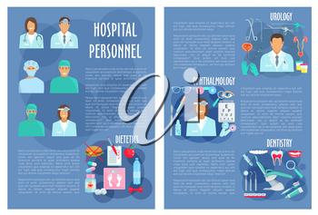 Hospital doctors poster or brochure for medical personnel of urology, dietetics healthcare, dentistry and ophthalmology. Vector physician staff and medicines for eyes, tooth implant, syringe and diabe