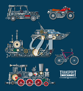 Transport mechanics and vehicles mechanisms. Vector train, ship boat, car and bicycle or bike with detailed parts of engine or gear, wheels and gauges with screws and valves, controllers or indicators