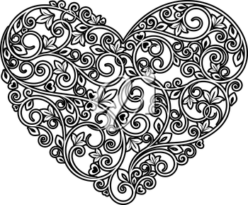 Floral heart with ornamental elements isolated on white background