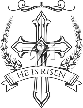 Easter day Resurrection Sunday celebration icon of He is Risen cross crucifix in ornate ribbon. Vector isolated symbol of Christian crucifixion cross in laurel wreath for Easter decoration design