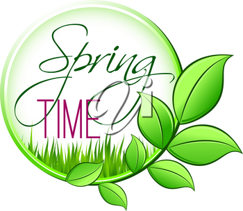 Spring time green leaf icon for springtime wishes or seasonal holiday greetings. Vector isolated green leaf and plant sprout of blooming flower or grass for spring time season