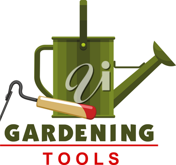 Gardening tools icon of watering can and hoe for farmer shop or garden farming store. Vector isolated gardener instruments for planting agriculture or farming equipment