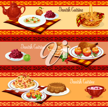 Danish cuisine dinner banner with traditional scandinavian food. Pasta with salmon fish and chicken with stuffed tomato, red cabbage salad and nut cake, rice pudding, raisins bun and meatball soup