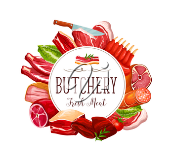 Butchery delicatessen and butcher shop meat food products. Vector pork ham and bacon, beef steak or mutton ribs with brisket, liver and tenderloin, salami and cervelat sausage with butcher knife