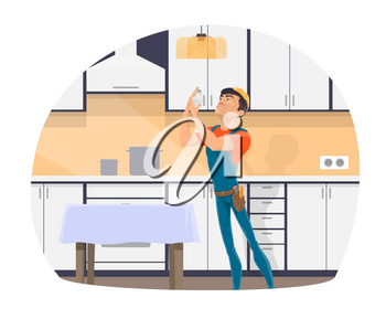 Electrician profession cartoon icon of electrical worker with tool, blue uniform and hard hat. Repairman changing light bulb in kitchen lamp for electrician occupation themes design