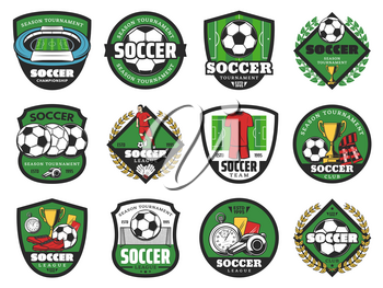 Soccer ball and winner icons for football sport game design. Soccer stadium play field with football team player, goal gate and referee for sporting tournament and fun club emblem design