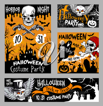 Halloween horror night party banner template with scary skull. Halloween pumpkin lantern, ghost and bat poster with spooky skeleton, pirate skull, haunted house and cemetery for autumn holiday design