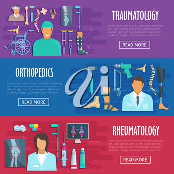 Medical banners for orthopedics, traumatology and rheumatology doctors. Vector flat human body x-ray bones and joints, spine and arm trauma, hand or wrist prosthesis, syringe and ointment medicine
