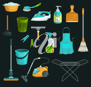 House cleaning product icons of household supplies vector design. Detergent bottle, bucket and soap, window spray, mop and broom, vacuum cleaner, brush and dustpan, waste basket, squeegee and plunger