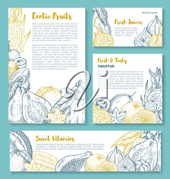 Exotic fruits sketch posters or banners templates. Vector set of tropical papaya, lychee or organic farm figs and durian, pitahaya dragonfruit or passionfruit and carambola, juicy tropic guava harvest