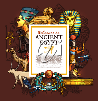 Ancient Egypt travel, history and culture poster, tourist vacation services, architecture landmarks and Pharaoh statues, sphinx and luxor treasures, camel and goat, cat and doberman vector