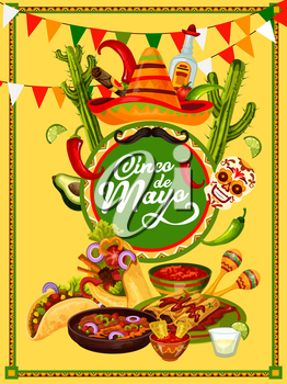 Cinco de Mayo fiesta party food and drink festive banner design. Sombrero hat, chili and jalapeno pepper, maracas, tequila and traditional snack, framed with ethnic ornament and bunting