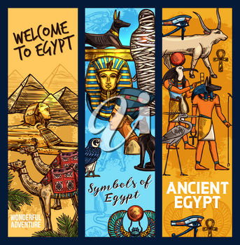 Egypt travel landmarks and ancient religion culture. Vector sketch Egyptian Cheops pharaoh pyramid, camel, sphinx or Tutankhamen mummy and Nefertiti princess, Anubis or Amon Ra deity
