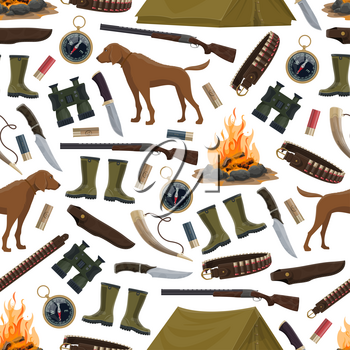 Hunting equipment and hunter ammo seamless pattern. Vector background of hunter rifle gun, hunting dog, rubber boots and compass, pocketknife and camp tent with bullets and horn
