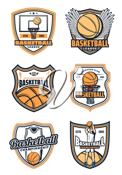 Basketball league club badges or college team sport icons. Vector isolated basketball player man with ball and victory wings, cup and stars. Sport game tournament theme