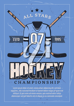 Hockey championship or college league and sport game club retro poster. Vector vintage grunge design of hockey player uniform with hockey stick, puck and stars on ice rink arena