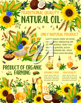 Natural cooking oil, organic natural farm products. Vector oil bottles from peanut or hazelnut, sunflower and extra virgin olive, coconut butter, flax and hemp