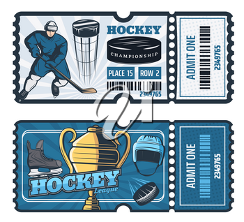 Ice hockey game tickets, sport cup tournament. Vector hockey player man with stick and puck for goal, trophy cup, safety helmet and skates on blue ice rink and ticket cut line