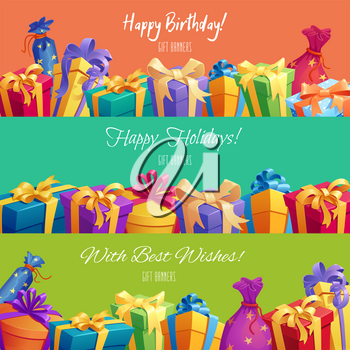 Happy Birthday or holidays gift banners. Vector festive gifts boxes with ribbon bow and surprise bags with stars pattern ornament for birthday celebration and best wishes background design template