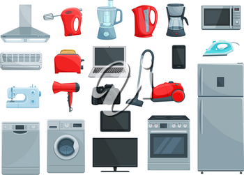 Home appliance icons set. Refrigerator, microwave, oven and vacuum cleaner, iron, stove and toaster, washing and coffee machine, blender and kettle, computer, tv and camera, telephone, air conditioner