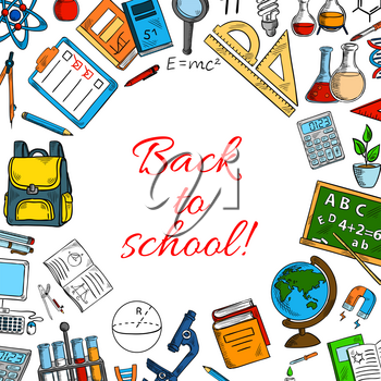 Back to School poster. Vector design of classes supplies and education books and stationery for astronomy, mathematics or chemistry and geometry or physics, biology school lessons in autumn season