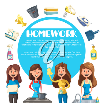 Housekeeping and housework cartoon poster. Young woman housewife cleaning, cooking, doing the laundry and washing dishes banner with apron, glove, bucket, soap, sponge, iron, sink and stove icons