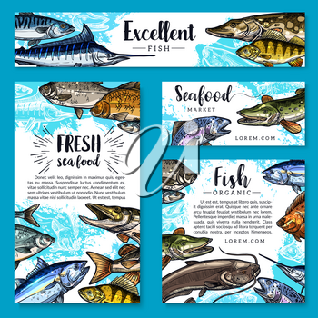 Seafood and fish food posters and banners templates set for fish and sea food market. Vector design of fresh trout, salmon or mackerel and marlin, flounder or tuna and herring sprats with sheatfish