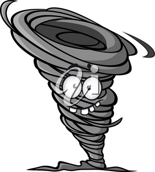 Cartoon hurricane in mascot style for design or weather concept
