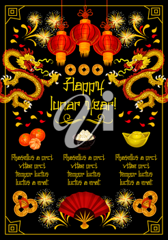 Chinese Lunar New Year festive poster. Oriental red lantern, dragon and golden coin greeting card with traditional food, gold ingot, firework and folding fan for Chinese Spring Festival greeting card