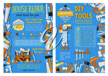 House repair work tool, construction equipment and carpentry instrument posters. Screwdriver, hammer and spanner, paint brush, wrench, roller, tape measure, trowel, ruler, saw vector poster design