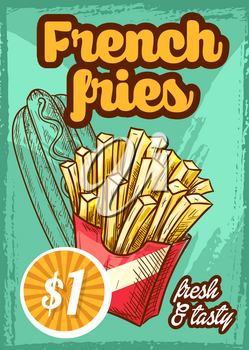 Fast food french fries menu poster with price for cinema bar bistro or fastfood restaurant. Vector sketch design template of fried potato snack and hot dog sandwich or cheeseburger meal