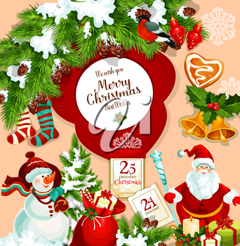 Merry Christmas wish or greeting card design of Christmas tree decoration, Santa gifts bag and snowman with 25 December calendar and holly wreath. Vector New Year stockings, cookie and golden bells