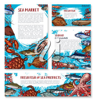 Seafood and fresh fish sketch banners and posters template for sea food or fisherman market and fishing sport shop. Vector squid, turtle or tuna and shrimp, octopus or lobster crab and trout