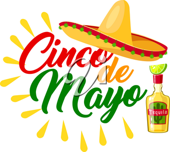 Cinco de Mayo mexican holiday icon with festive sombrero. Latin american hat, tequila margarita and lime fruit greeting card in colors of Mexico flag for fiesta party invitation design