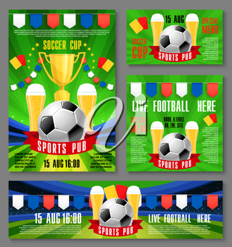 Sport pub invitation banner for football championship match event template. Soccer ball and beer on football stadium field with ribbon banner, flag and referee card for sport bar ticket design