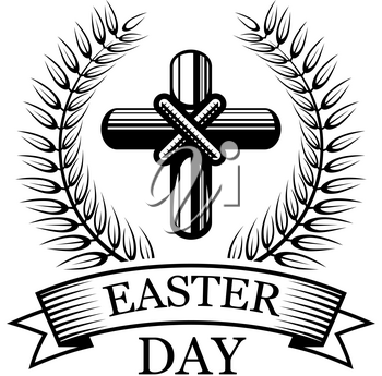 Easter Day icon of crucifix cross, laurel branch and ribbon. Vector isolated symbol of Christian crucifixion for Happy Easter and He is Risen religious holiday design template of palm leaf wreath